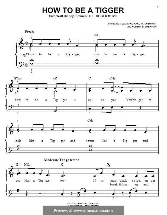 How To Be a Tigger: Для фортепиано (легкий уровень) by Richard M. Sherman, Robert B. Sherman