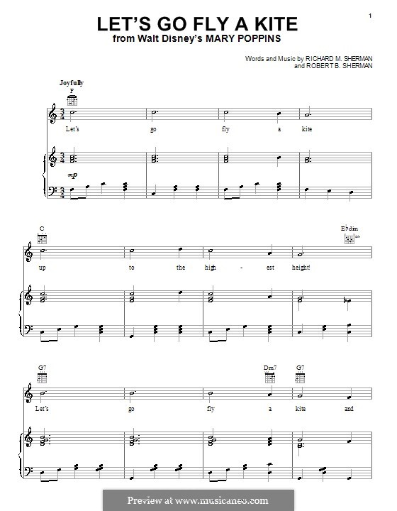 Let's Go Fly a Kite: Для голоса и фортепиано (или гитары) by Richard M. Sherman, Robert B. Sherman