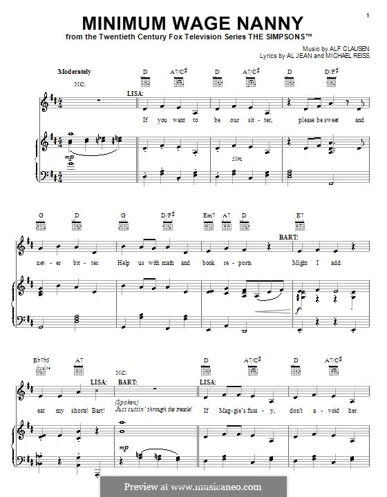 Minimum Wage Nanny (The Simpsons): Для голоса и фортепиано (или гитары) by Al Jean, Alf Clausen, Michael Reiss