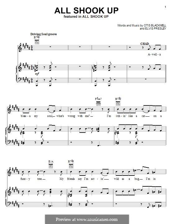 All Shook Up: Для голоса и фортепиано или гитары (H Major) by Elvis Presley, Otis Blackwell