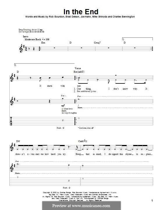 In the End (Linkin Park): Гитарная табулатура by Brad Delson, Charles Bennington, Joseph Hahn, Mike Shinoda, Rob Bourdon