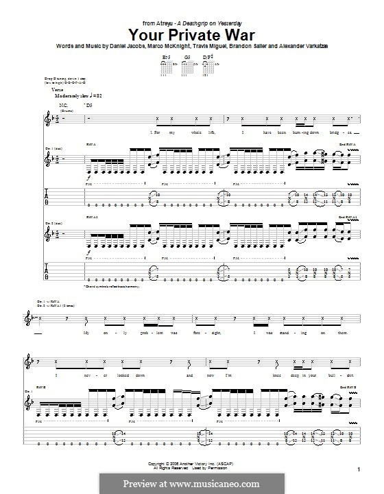 Your Private War (Atreyu): Гитарная табулатура by Даниэль Джекобс, Alexander Varkatzas, Brandon Saller, Marco McKnight, Travis Miguel