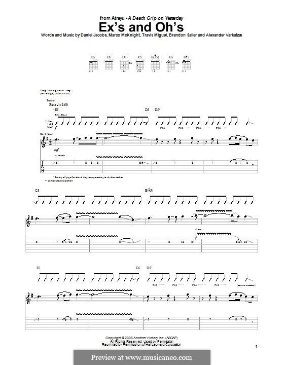 Ex's and Oh's (Atreyu): Гитарная табулатура by Даниэль Джекобс, Alexander Varkatzas, Brandon Saller, Marco McKnight, Travis Miguel