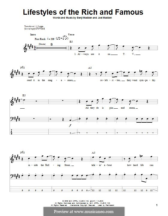 Lifestyles of the Rich and Famous (Good Charlotte): Для бас-гитары с табулатурой by Benji Madden, Joel Madden