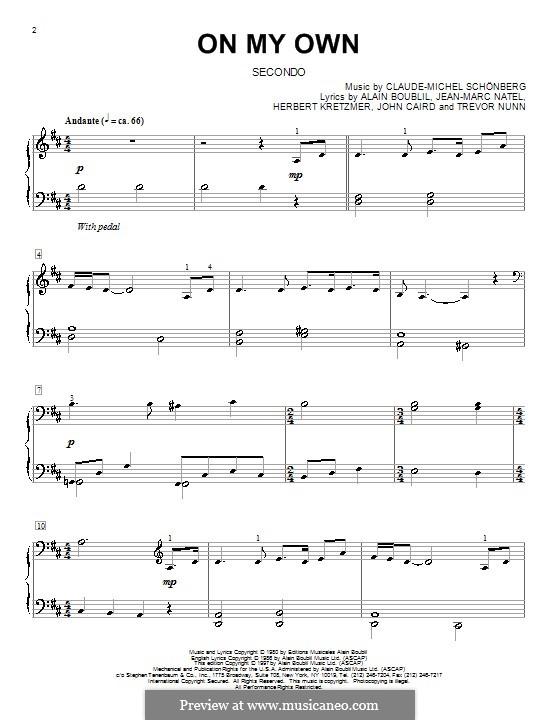 On My Own: Для фортепиано в 4 руки by Claude-Michel Schönberg