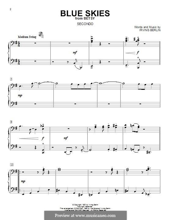 Blue Skies: Для фортепиано в 4 руки by Ирвинг Берлин