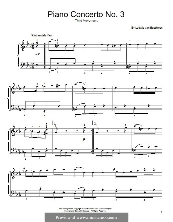 Концерт для фортепиано с оркестром No.3, Op.37: Часть III (Theme). Version for easy piano by Людвиг ван Бетховен