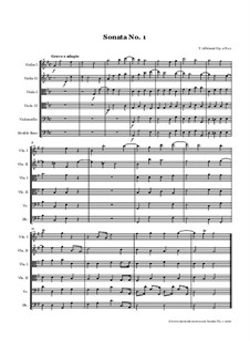 Шесть сонат для струнных и бассо континуо, Op.2: Соната No.1 – партитура и партии by Томазо Альбинони