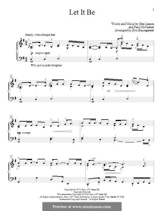 Let it Be, for Piano: С аппликатурой by John Lennon, Paul McCartney
