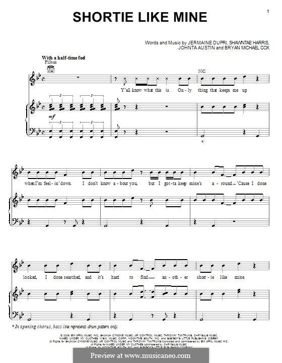 Shortie Like Mine (Bow Wow featuring Chris Brown & Johnta Austin): Для голоса и фортепиано (или гитары) by Bryan Michael Cox, Shawntae Harris, Jermaine Dupri, Johntá Austin