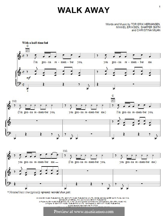 Walk Away (Paula DeAnda featuring The DEY): Для голоса и фортепиано (или гитары) by Christina Milian, Emilio Cancio-Bello, Mikkel Storleer Eriksen, Ne-Yo, Tor Erik Hermansen