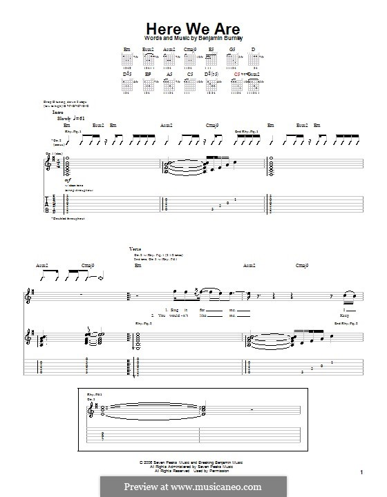 Here We Are (Breaking Benjamin): Гитарная табулатура by Benjamin Burnley, Gloria M. Estefan