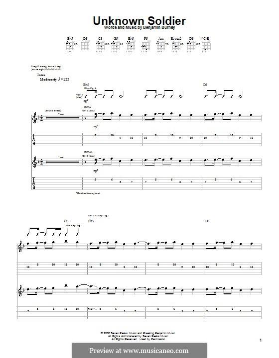 Unknown Soldier (Breaking Benjamin): Гитарная табулатура by Benjamin Burnley