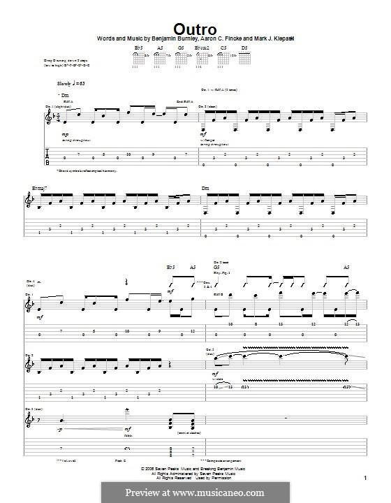Outro (Breaking Benjamin): Гитарная табулатура by Aaron C. Fincke, Benjamin Burnley, Mark J. Klepaski