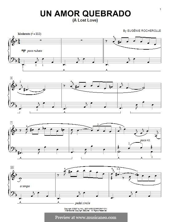 Un Amor Quebrado (A Lost Love): Для фортепиано by Eugénie Rocherolle