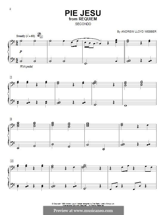 Pie Jesu (from Requiem): Для фортепиано в 4 руки by Andrew Lloyd Webber