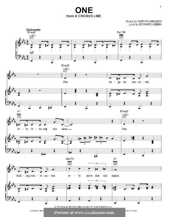 One (from A Chorus Line): Для голоса и фортепиано или гитары (Anita Kerr) by Marvin Hamlisch