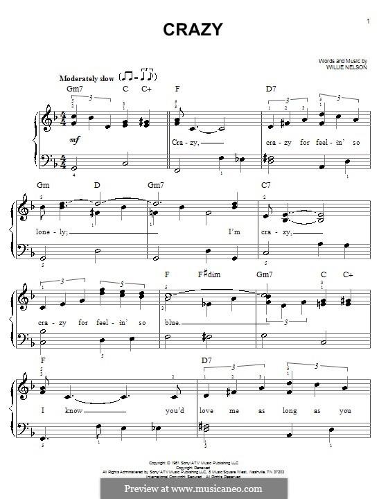 Crazy (Patsy Cline): Для начинающего пианиста by Willie Nelson