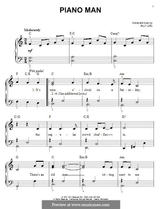 Piano Man: Для фортепиано (легкий уровень) by Billy Joel