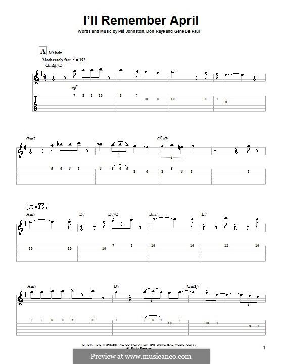 I'll Remember April (Woody Herman): Гитарная табулатура by Don Raye, Gene de Paul, Patricia Johnson
