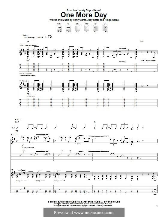 One More Day (Los Lonely Boys): Гитарная табулатура by Henry Garza, Joey Garza, Ringo Garza