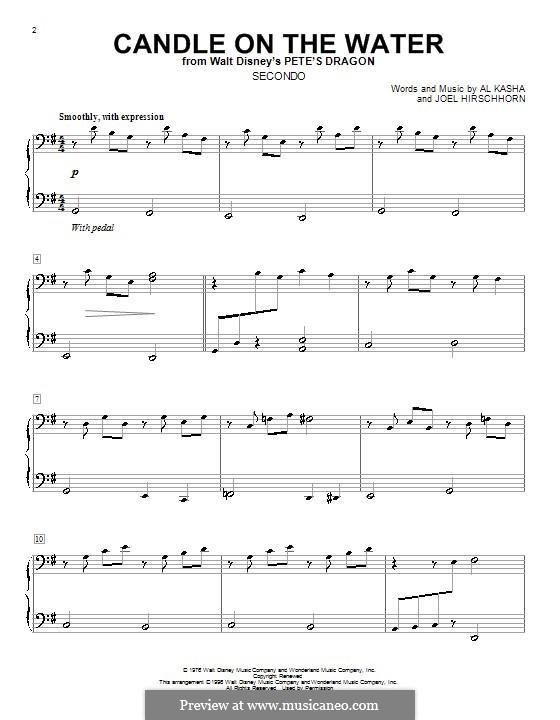 Candle on the Water (from Walt Disney's Pete's Dragon): Для фортепиано в 4 руки by Al Kasha, Joel Hirschhorn