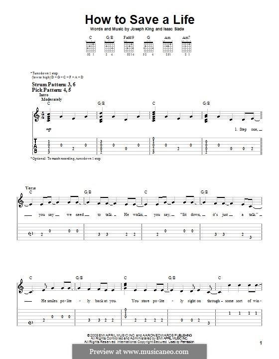 How to Save a Life (The Fray): Для гитары (очень легкая версия) by Isaac Slade, Joseph King