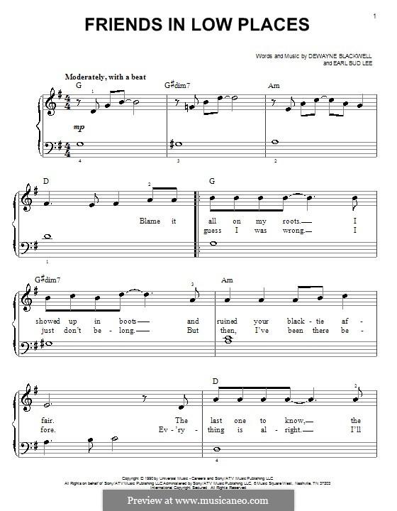 Friends in Low Places (Garth Brooks): Для фортепиано (легкий уровень) by Dewayne Blackwell, Earl Bud Lee