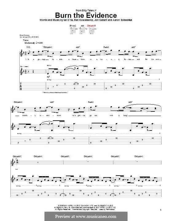 Burn the Evidence (Billy Talent): Гитарная табулатура by Aaron Solowoniuk, Ben Kowalewicz, Ian D'Sa, Jon Gallant