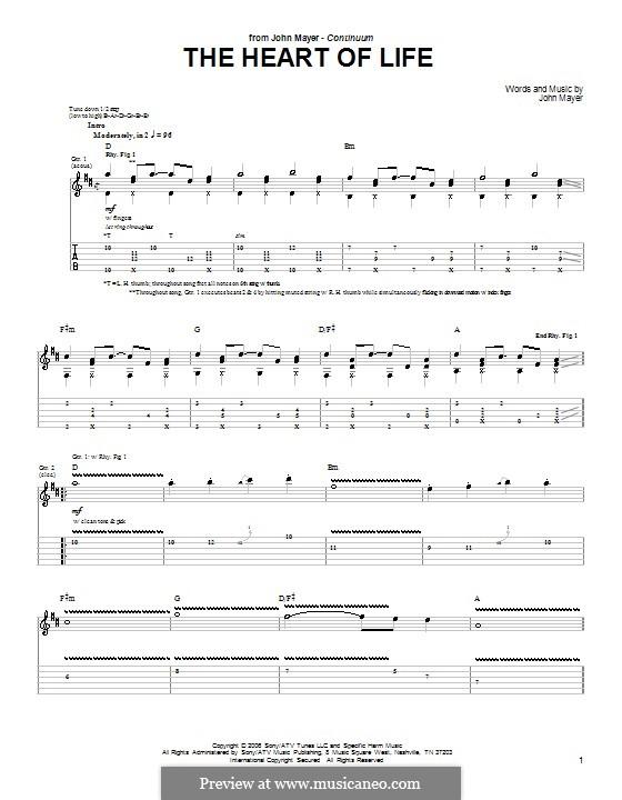 The Heart of Life: Гитарная табулатура by John Mayer