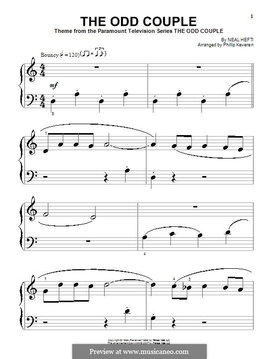 Theme from The Odd Couple: Для фортепиано (очень легкая версия) by Neal Hefti