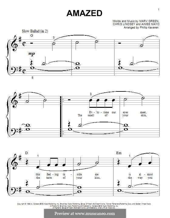 Amazed (Lonestar): Для фортепиано (очень легкая версия) by Aimee Mayo, Chris Lindsey, Marv Green