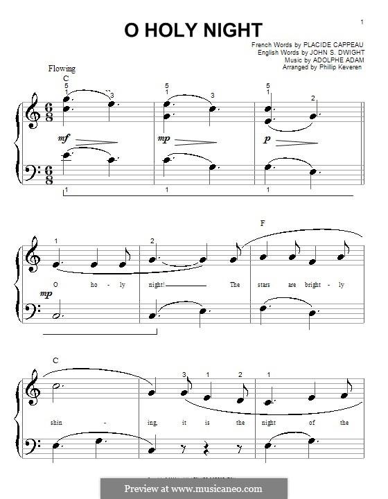 Святая ночь, для фортепиано: Очень легкая версия by Адольф Адам