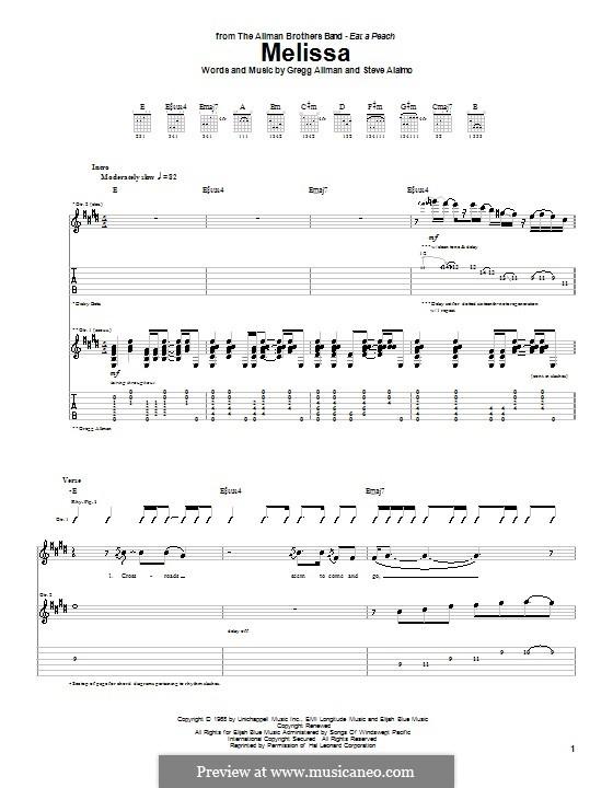 Melissa (The Allman Brothers Band): Для гитары с табулатурой by Gregg Allman, Steve Alaimo