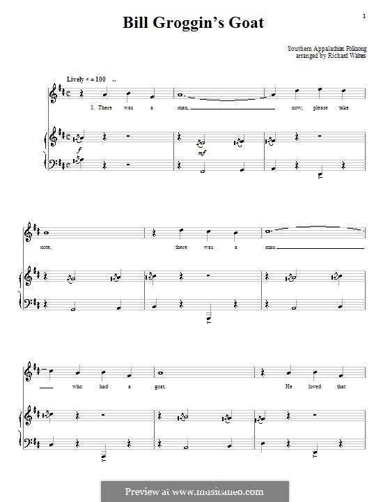 Bill Grogan's Goat: Для голоса и фортепиано (или гитары) by folklore