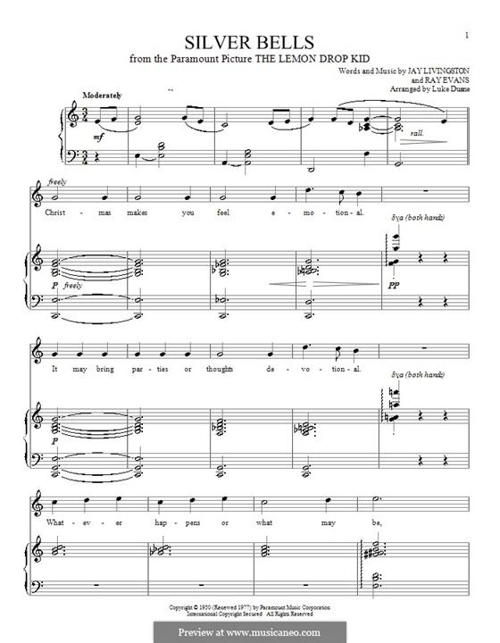 Silver Bells: Для голоса и фортепиано или гитары (до мажор) by Jay Livingston, Raymond Evans