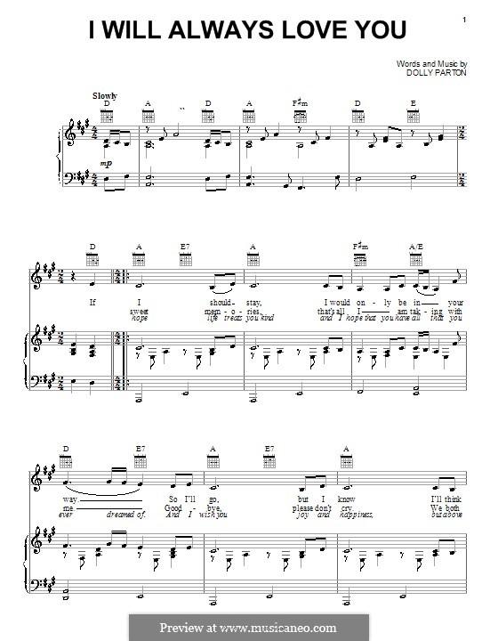 I Will Always Love You (Whitney Houston): Для голоса и фортепиано (или гитары) by Dolly Parton