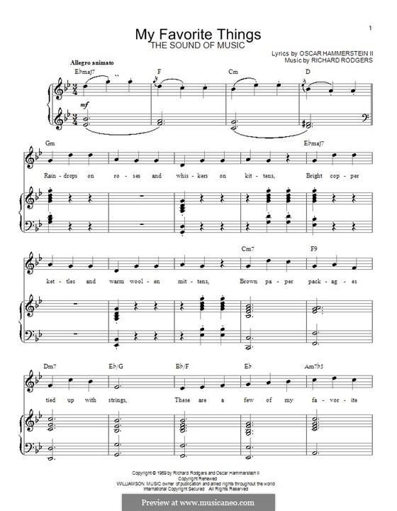 My Favorite Things (from The Sound of Music): Для голоса и фортепиано или гитары (ноты высокого качества) by Richard Rodgers