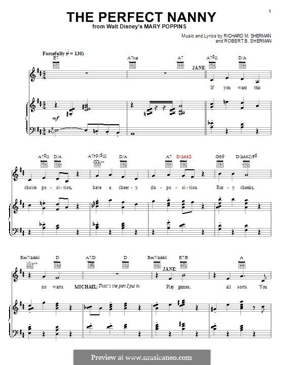 The Perfect Nanny: Для голоса и фортепиано (или гитары) by Richard M. Sherman, Robert B. Sherman