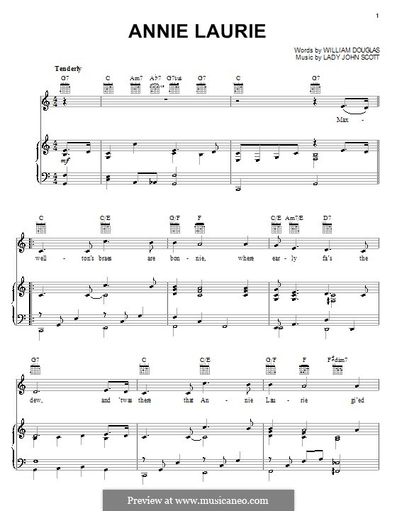 Annie Laurie: Для голоса и фортепиано (или гитары) by Lady John Scott