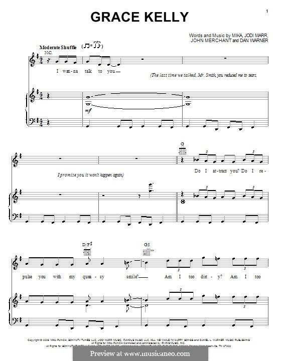 Grace Kelly: Для голоса и фортепиано (или гитары) by Mika, Dan Warner, Jodi Marr, John Merchant