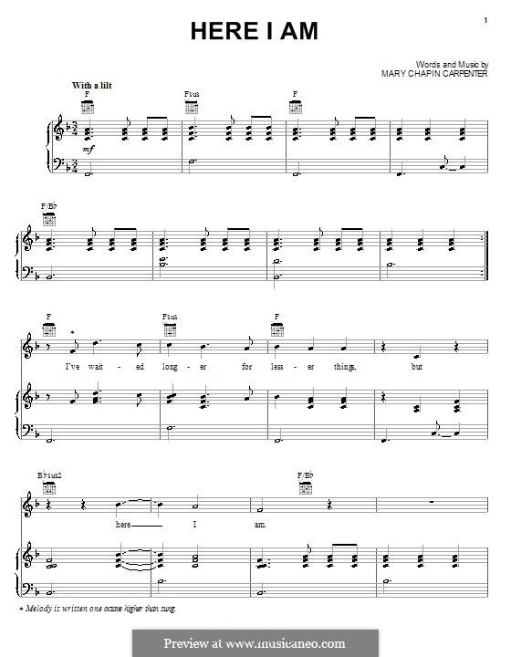 Here I am: Для голоса и фортепиано (или гитары) by Mary Chapin Carpenter