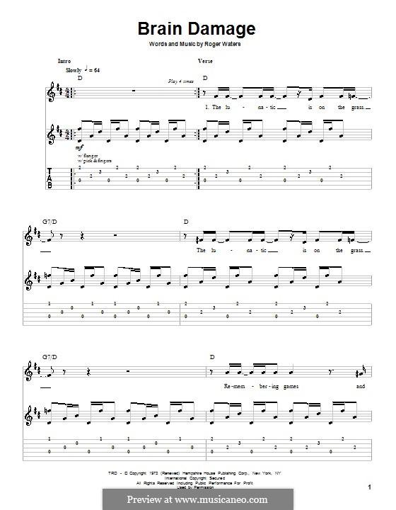 Brain Damage (Pink Floyd): Для гитары с табулатурой by Roger Waters