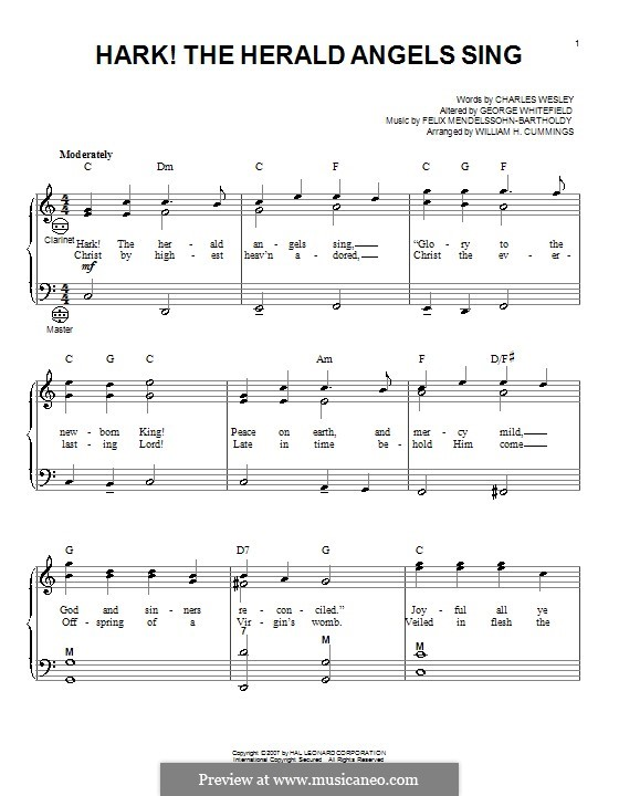 Hark! The Herald Angels Sing, for Solo Instrument: Для аккордеона by Феликс Мендельсон-Бартольди