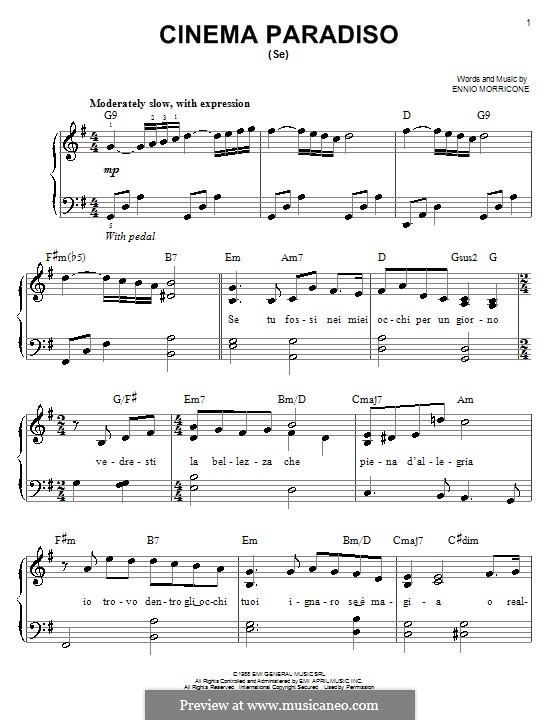 Cinema Paradiso: Для фортепиано by Ennio Morricone