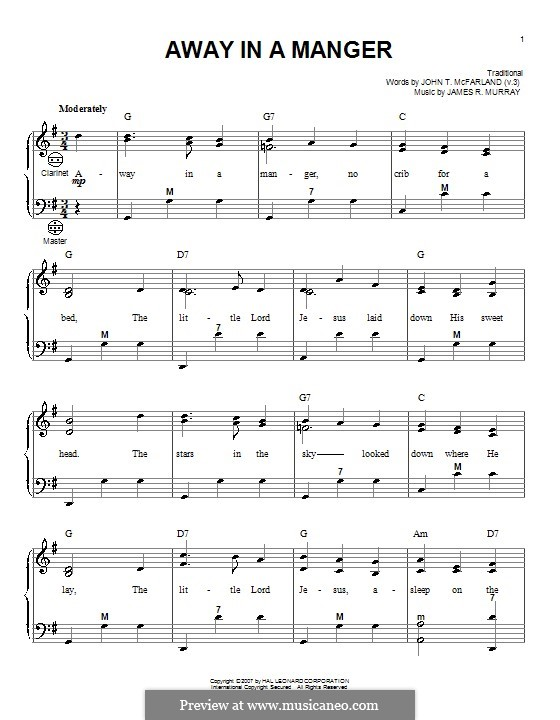 Away in a Manger (Printable Scores): Для аккордеона by Джеймс Р. Мюррей