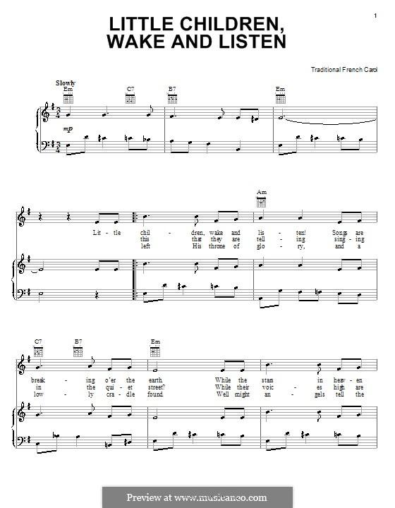 Little Children, Wake and Listen: Для голоса и фортепиано (или гитары) by folklore