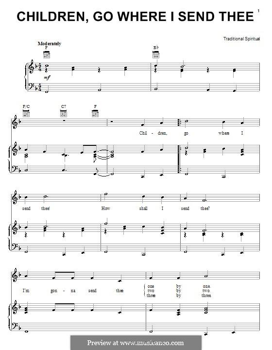 Children Go Where I Send Thee: Для голоса и фортепиано (или гитары) by folklore