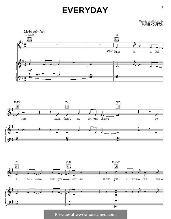 Everyday (High School Musical 2): Для голоса и фортепиано (или гитары) by Jamie Houston