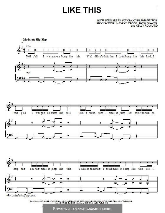 Like This (Kelly Rowland featuring Eve): Для голоса и фортепиано (или гитары) by Elvis Williams, Eve Jeffers, Jamal Jones, Jason Perry, Sean Garrett